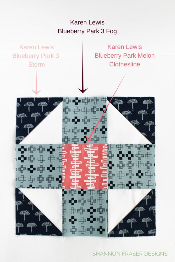 Shoo Fly Block #modernsewcialitesBOM | Shannon Fraser Designs | Blueberry Park by Karen Lewis Textiles for Robert Kaufman #blockofthemonth #easyquiltpattern
