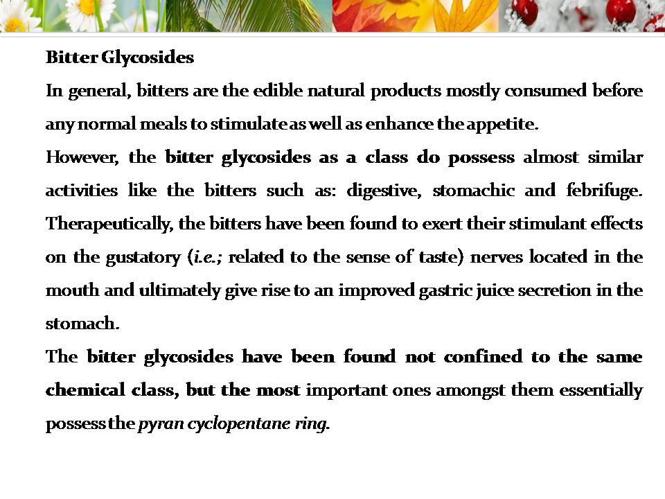 destiny of pharmacy power point presentation ppt on glycosides hai friends today i am going to post an interesting topic bitter glycosides ppt
