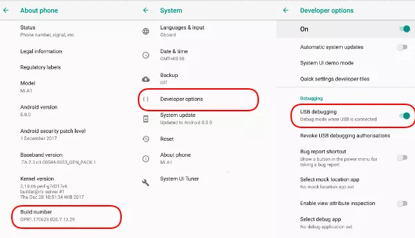 enable disable usb debuging and develover options