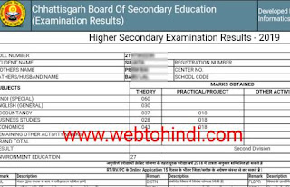 Cgbse board 2019 12th result score card
