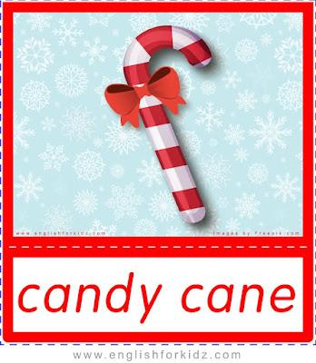 candy cane, ESL Christmas flashcards
