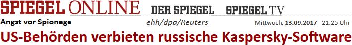 US-Behörden verbieten russische Kaspersky-Software