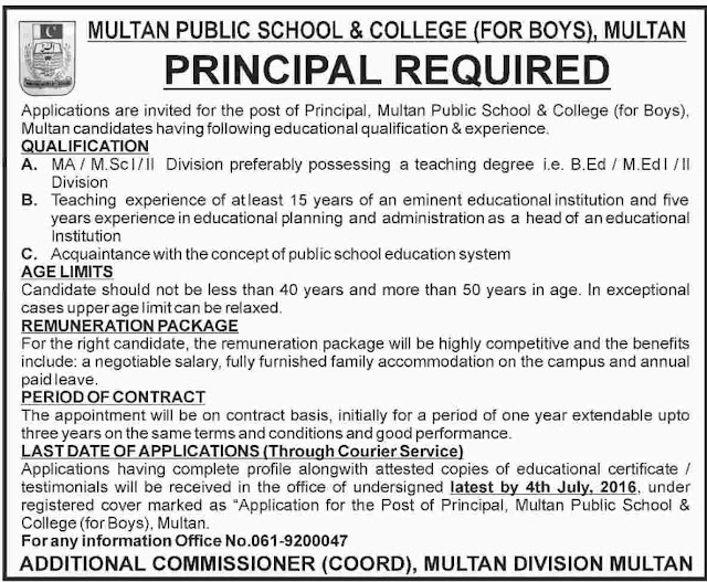 Faculty Required at Multan Public School & College Jobs in Multan
