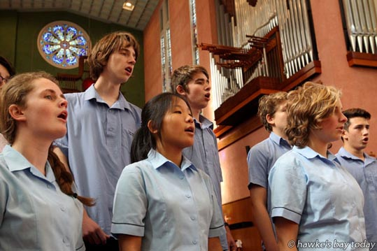 L-R: Taylah Exton, Christopher Eldridge, Da-Yoon Song, Josh Jamieson, Ronan Whitelock, Sarah Roberts, Michael Tebbs, part of O Seinneran, a choir from Taradale High School, Taradale, Napier, rehearsing for The Big Sing 2016, at Waiapu Cathedral of St John the Evangelist, Napier. photograph