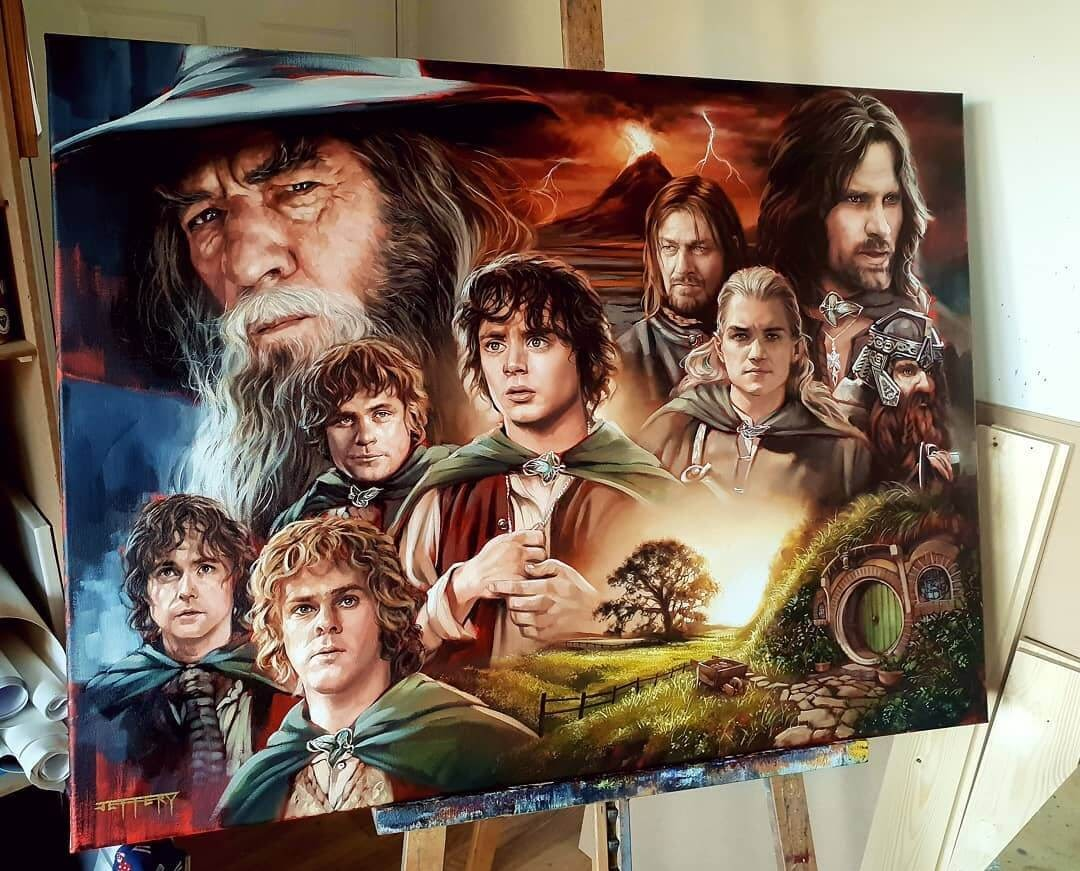16-Lord-of-the-Rings-Fellowship-of-the-Ring-Ben-Jeffery-Superhero-and-Villain-Movie-Paintings-www-designstack-co