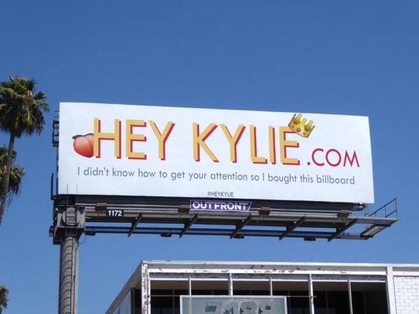 Hey Kylie attention billboard