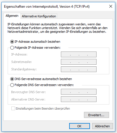 Windows - dynamische IP Adresse