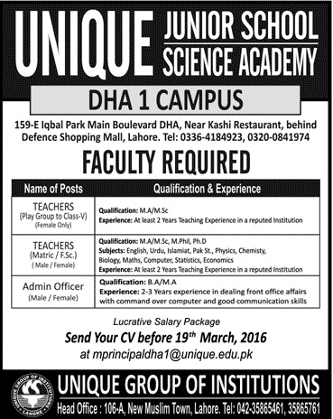 Teachers Jobs in Unique Junior School DHA Campus Lahore