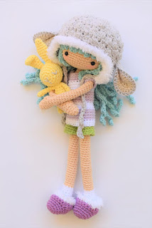 Amigurumi crochet doll girl with lamb ears hat and pet bunny