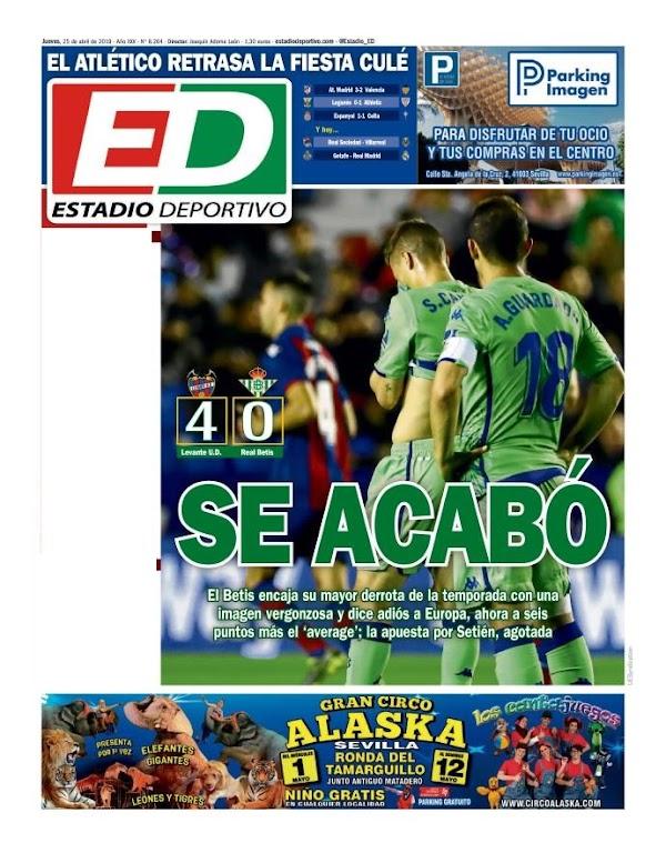 "Betis, Estadio Deportivo: ""Se acabó"""
