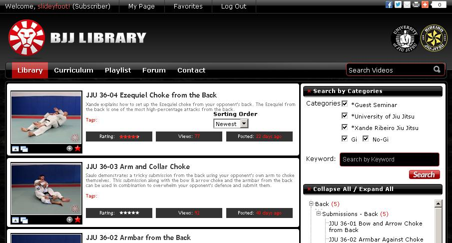 slideyfoot com | bjj resources: Website Review - BJJ Library