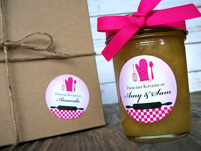 custom hot pink kitchen canning jar labels