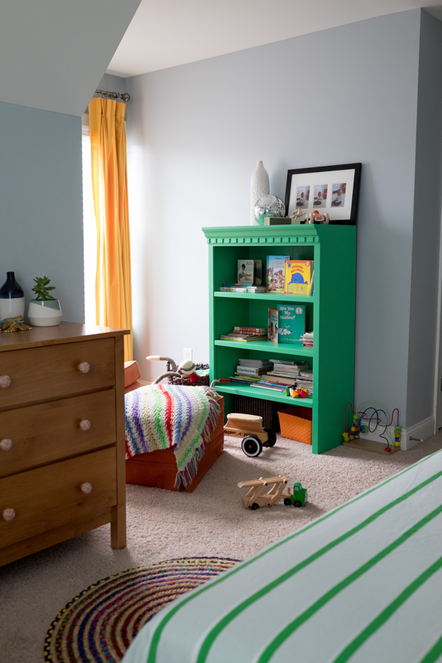 green bookcase diy