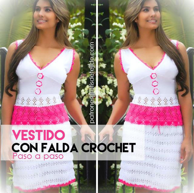 d1737e1b9 Vestido con falda crochet y top de tela / Paso a paso   Crochet y ...