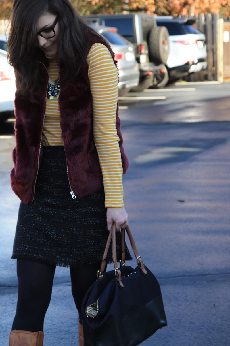 2017, OOTD, fur, vest, turtleneck, stripes, winter,