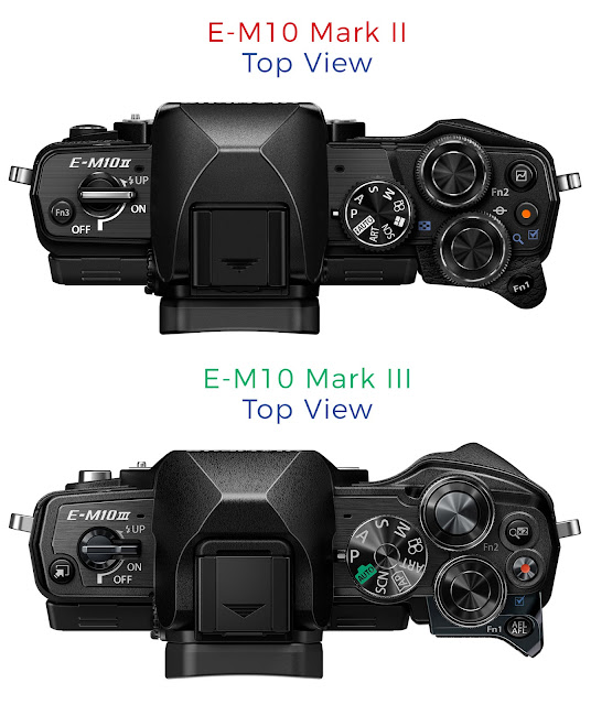 Top-down comparison of the Olympus E-M10 Mark III vs E-M10 Mark II top plates showing control dials and buttons and the deeper hand and thumb grip