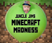"pixelated brown background featuring man's head coming out of a giant green balloon with the text ""Jungle Jims Minecraft Madness"""