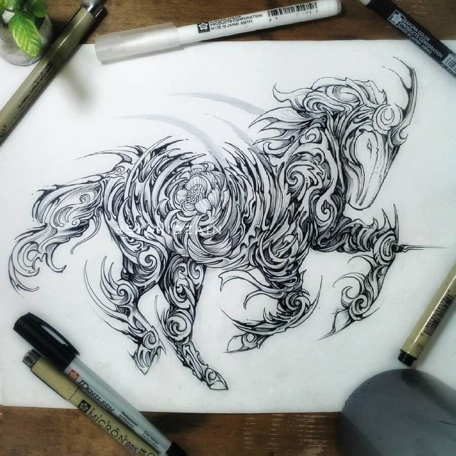 01-Unicorn-Animal-Drawings-Syahid Zain-www-designstack-co