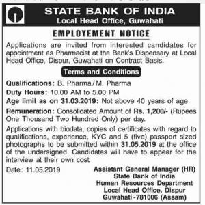 State Bank Of India, Guwahati Recruitment 2019 For Pharmacist 1