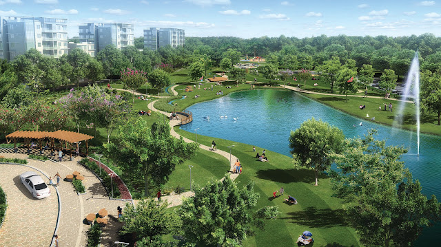 Công viên cây xanh và hồ nước tại Louis City