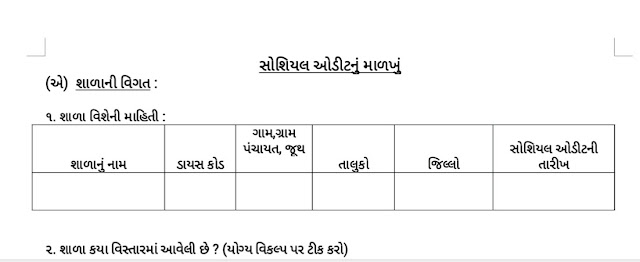 Social Audit Form for Gujarat Primary schools : pdf And ms word file