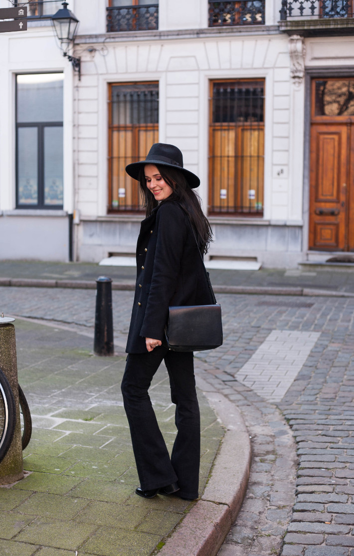 Outfit: 70s in hat, military coat and flares