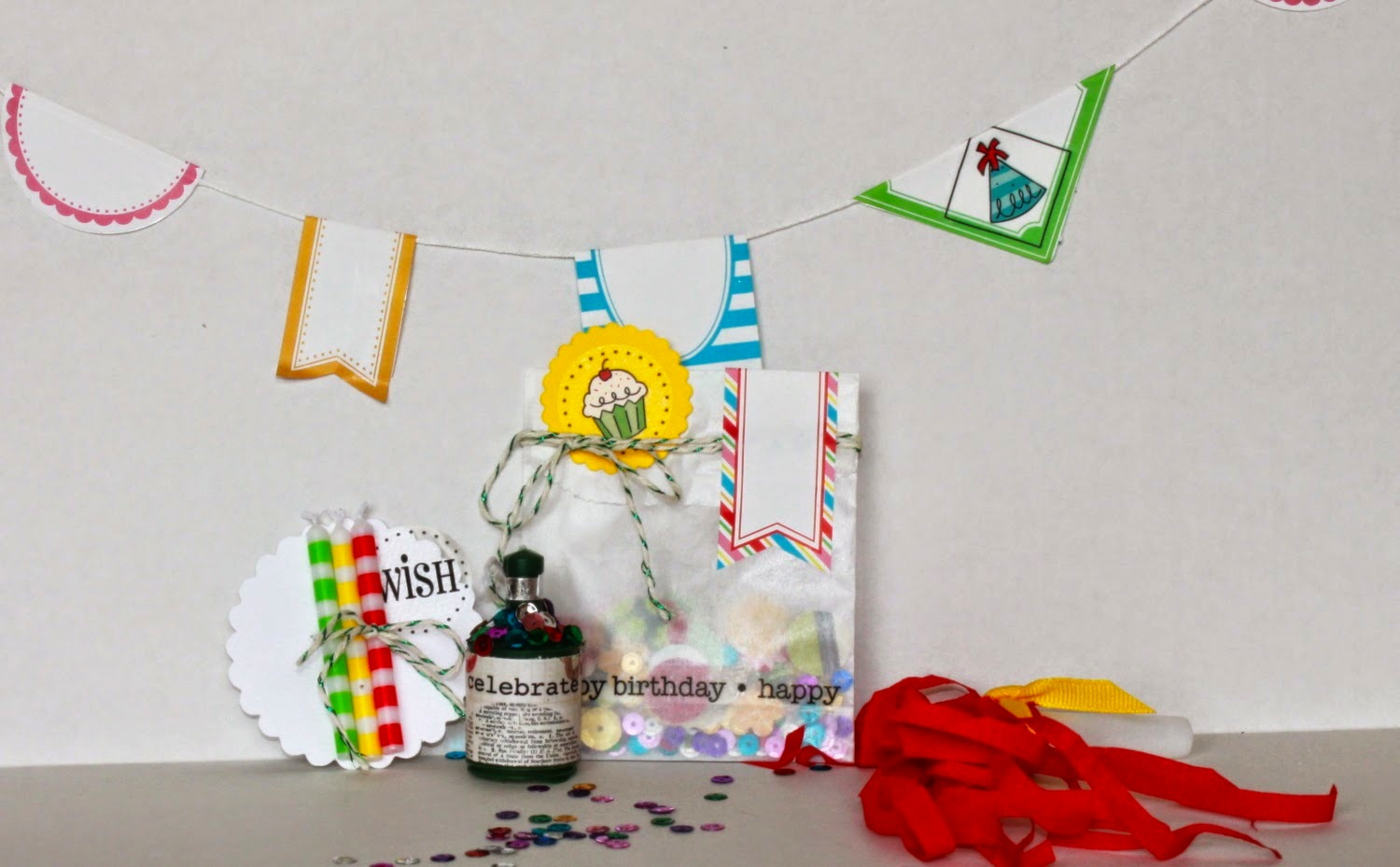 SRM Stickers Blog - Bitty Birthday Box by Shantaie - #birthday #gift #container #clear #A-2 #doily #stickers #twine #shimmer
