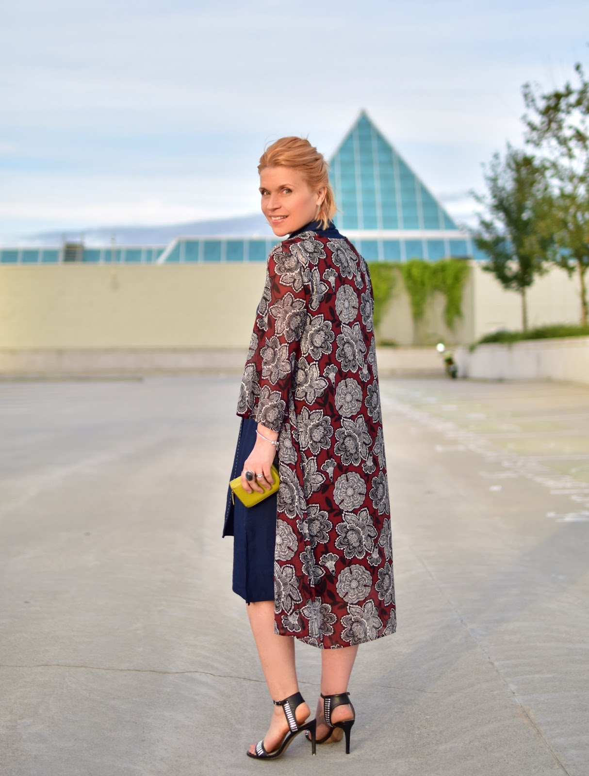 styling a Zara sash-tied jersey shirtdress with a floral kimono and ankle-strap sandals