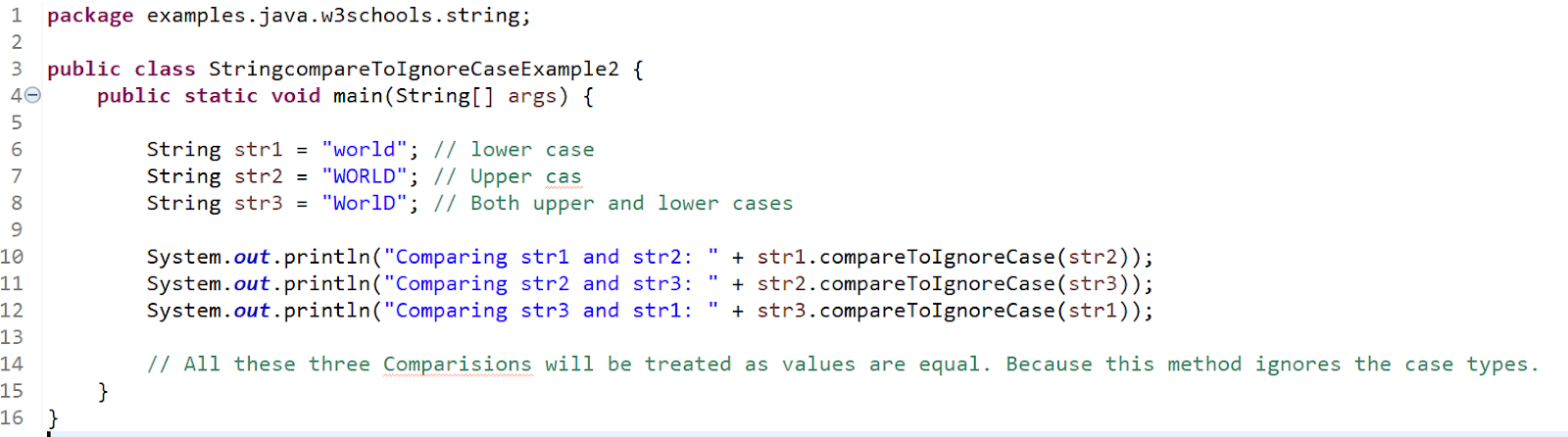 Java String compareToIgnoreCase() example 2