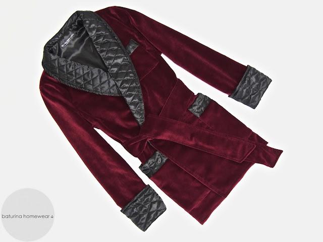 Mens red velvet smoking jacket quilted silk robe