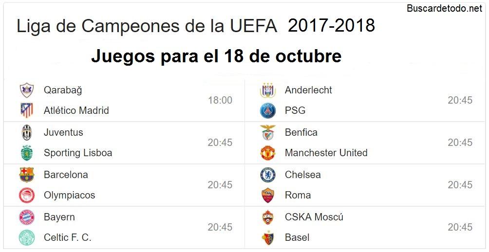 6- Calendario de juegos de la Champions League 2017-2018. Juegos de la Champions League el 18 de octubre 2017