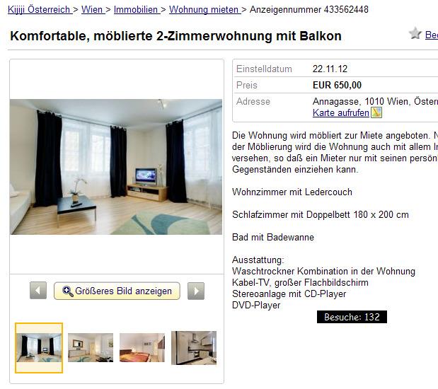 mblierte 2-Zimmerwohnung mit Balkon Annagasse ...