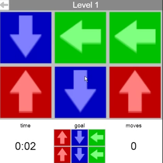 Playing Online Game: Arrow slider matching game level1 and