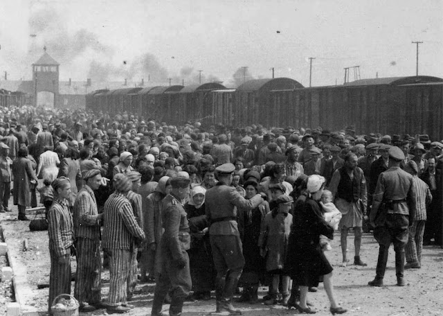 The arrival and processing of an entire transport of Jews from Carpatho-Ruthenia, a region annexed in 1939 to Hungary from Czechoslovakia, at Auschwitz-Birkenau extermination camp in Poland, in May of 1944. The picture was donated to Yad Vashem in 1980 by Lili Jacob.