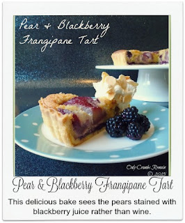 This beautiful & delicious bake, inspired by GBBO 2015, sees the pears stained with blackberry juice rather than the usual red wine.