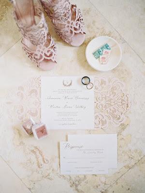 blush shoes and wedding stationary