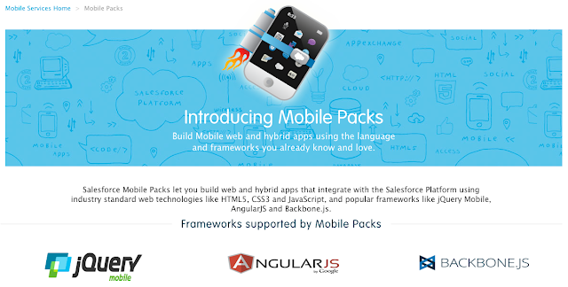 Mobile Packs allow developers to focus on developing application and presentation logic on their favorite JavaScript framework of choice, while the Salesforce.com Mobile Pack handles the heavy-duty lifting of the boring things like identity management, business services, authentication, etc.
