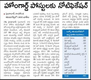 Hyderabad Police Recruitment 2016-2017 City Home Guard 1800 Vacancy Apply Online @ hyderabadpolice.gov.in
