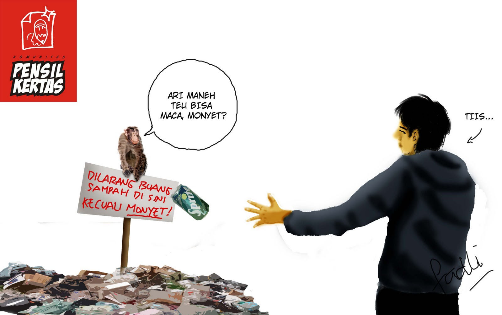 Pensil Kertas Monyet Aja Sebel Liat Orang Buang Sampah
