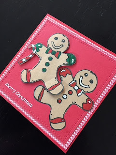 Hand Made Christmas Card with Stamped and Cut Gingerbread Men