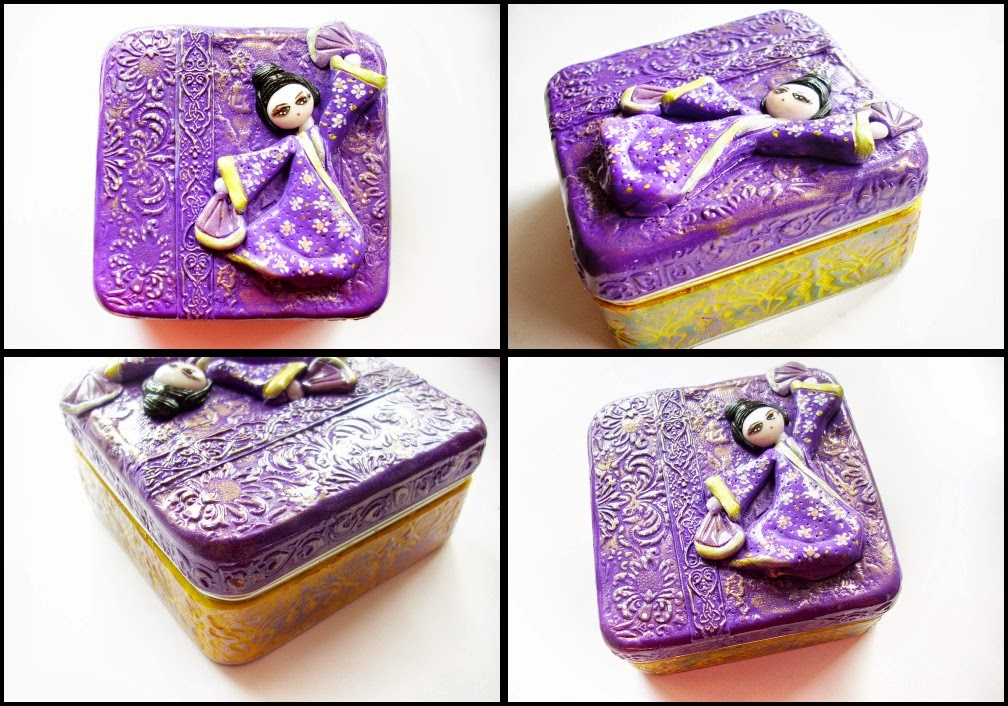 gheisha polymer clay, geisha box, gift, japanese, purple geisha