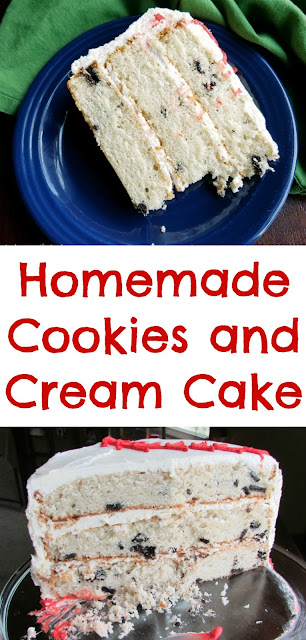 This cake is three deliciously easy layers of cake dotted with your favorite chocolate sandwich cookies for the perfect cookies and cream cake experience. You are going to love how easy it is almost as much as you'll love the results!