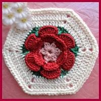 Rosa en hexágono a crochet
