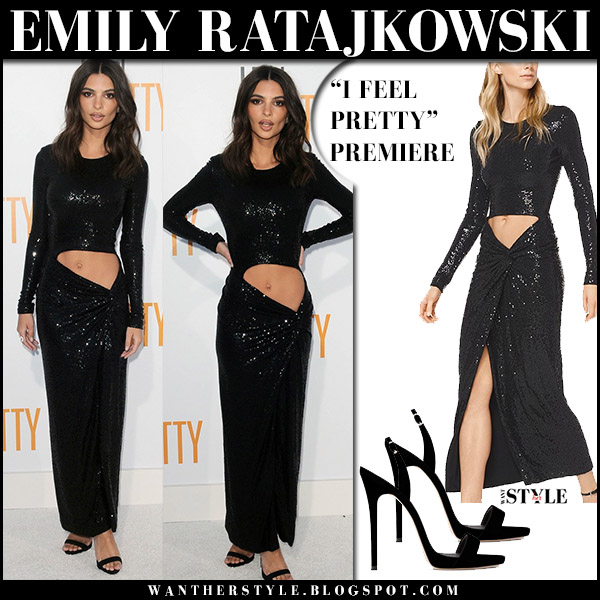 Emily Ratajkowski in black cutout sequined dress michael kors red carpet style april 17