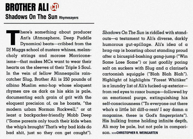 Brother Ali Shadows of the Sun CMJ Album Review 2003