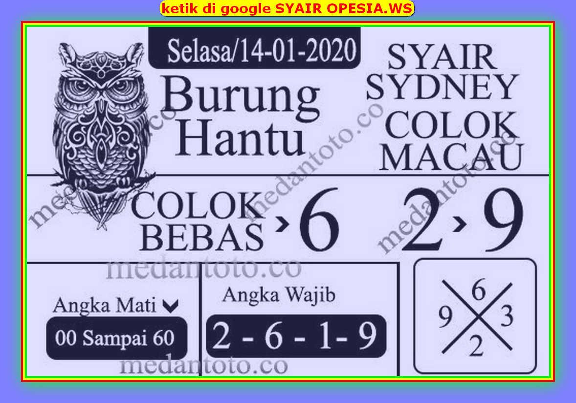 Kode syair Sydney Selasa 14 Januari 2020 106