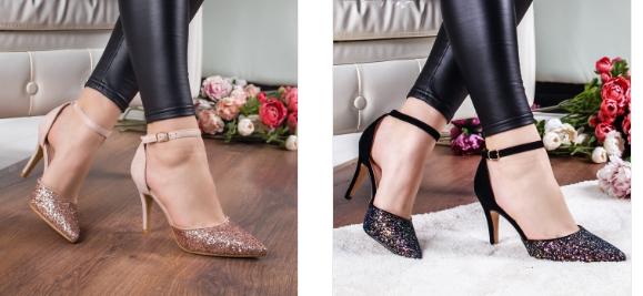 Pantofi negri, bej cu toc inalt eleganti si frumosi de ocazii