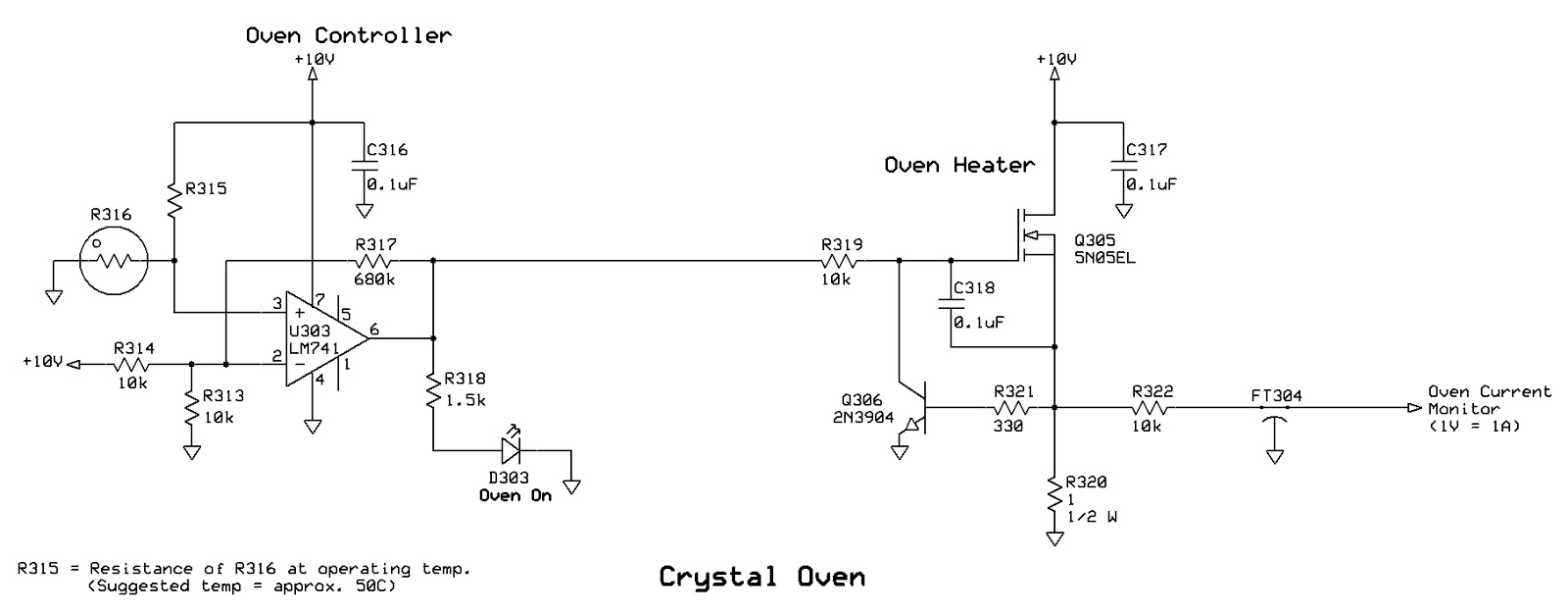 Ka7oeis Blog A Simple Crystal Oven Heater That Uses No Power Resistors Regulator Circuits By Jfet R320 Q306 Form Constant Current Limiter Circuit So The Fet Can Never Be Fully On Keeping Its Resistance Higher