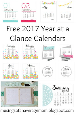 free 2017 year at a glance calendars