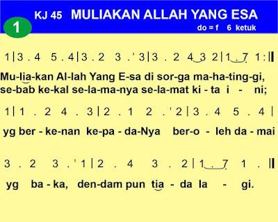 Lirik dan Not Kidung Jemaat 45 Muliakan Allah Yang Esa